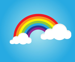 Rainbow With Clouds In Sky Sticker