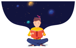 Reading Book On Background Of Space Sticker