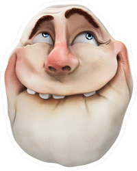Realistic Ahhh Smiling Troll Face Meme Sticker