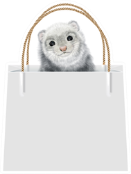 Realistic Ferret In Gift Bag Sticker