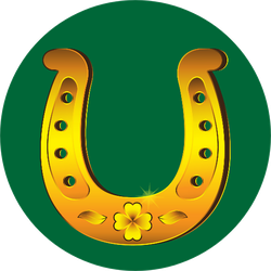 Realistic Gold Horseshoe With Four-leaf Clover Sticker