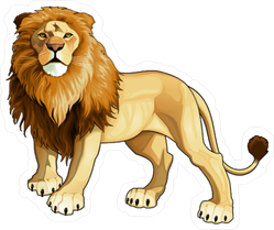 Realistic Painted Lion Sticker