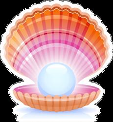 Realistic Pearl In Shell Cartoon Sticker