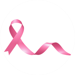 Realistic Pink Ribbon Of Breast Cancer Awareness Sticker