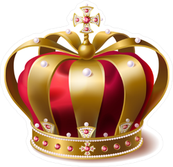 Realistic Red Velvet and Gold Crown Sticker