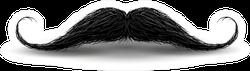 Realistic Vintage Black Curly Mustache Sticker