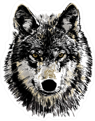 Realistic Wolf Head Sticker