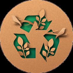 Recycle Icon Papercut Illustration Sticker