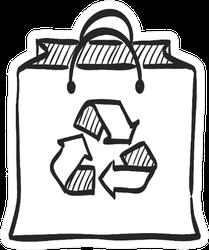 Recycle Symbol Icon In Doodle Sketch Bag Sticker