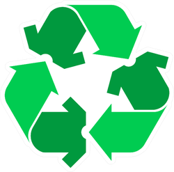 Recycling Clothing Sign In Green Sticker