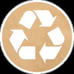 Recycling Symbol On Cardboard Paper Sticker