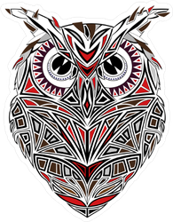 Red and Black Owl Sticker