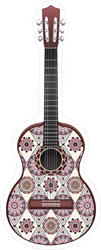 Red and White Decorated Guitar Sticker