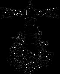 Lighthouse Among Waves Illustration Sticker