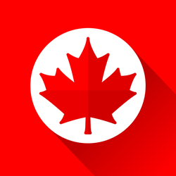 Red And White Maple Leaf Icon Sticker