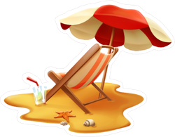 Red And Yellow Beach Umbrella And Lounge Chair Sticker
