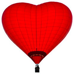 Red Balloon In The Shape Of A Heart Sticker