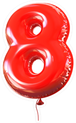 Red Balloon Number Eight Sticker