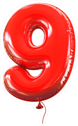 Red Balloon Number 9 Sticker