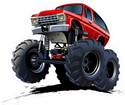Red Cartoon Monster Truck Sticker
