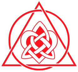 Red Celtic Heart Knot In Circle And Triangle Sticker