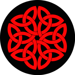 Red Celtic Shamrock Knot In Circle Sticker