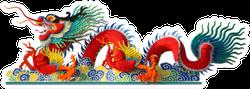 Red Chinese Dragon Stucco Arts Sticker