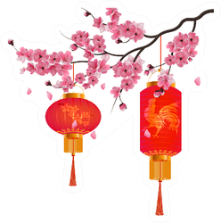 Red Chinese Lanterns On A Branch Of Cherry Blossoms Sticker