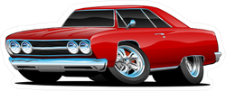 Red Classic Muscle Car Coupe Cartoon Sticker