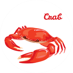 Red Crab Illustration With Lettering Sticker