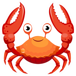 Red Crab, Sea Creature With Smile Sticker