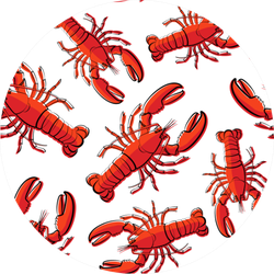 Red Crayfish Lobster Realistic Pattern Sticker