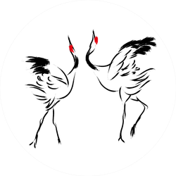 Red Crowned Crane Chinese Paint Brush Sticker