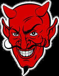 Red Devil Satan Or Lucifer Demon Cartoon Face Sticker