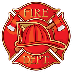 Red Fire Department Maltese Cross Sticker