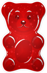Red Gummy Bear Candy Sticker