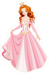 Red Head Princess Fairy Tale Sticker