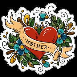 Red Heart Mother Ribbon Tattoo Sticker