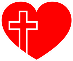 Red Heart With Christian Cross Sticker
