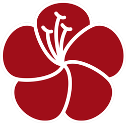 Red Hibiscus Flower Icon Sticker