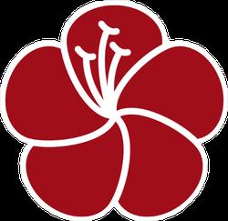 Red Hibiscus Flower Icon Sticker