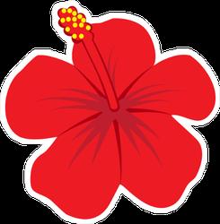 Red Hibiscus Flower Illustration Sticker