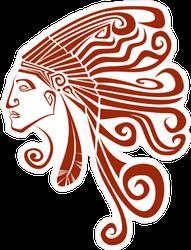 Red Indian Chief Sticker