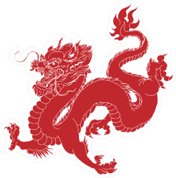 Red Ink Style Chinese Dragon Sticker