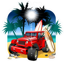 Red Jeep on the Beach Sticker