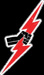 Red Lightning Bolt In A Fist Sticker