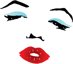 Red Lips And Blue Eyeshadow Sticker