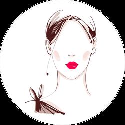 Red Lips On Model Fashion Sketch Sticker