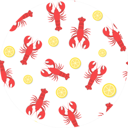 Red Lobster And Lemon Pattern Sticker