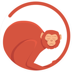 Red Monkey In A Circle Sticker